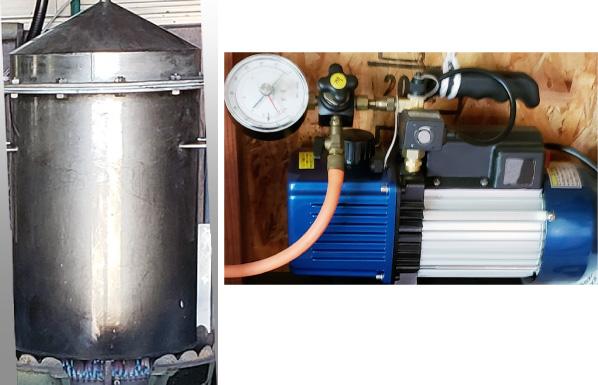 減圧蒸留(窯と減圧器)